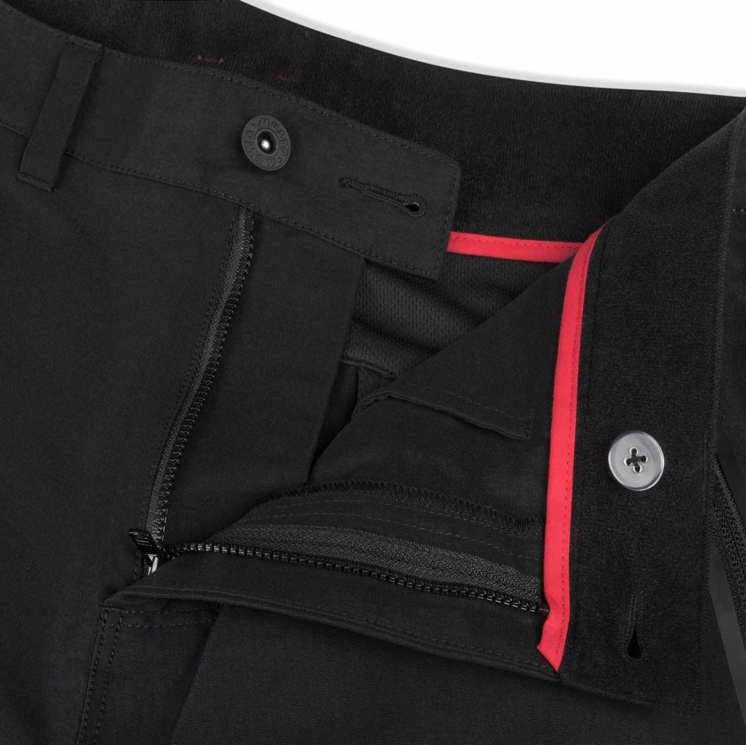 Black trouser button waistband with red piping