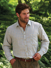 man wearing Salisbury Tattersall Country Check Shirt by Champion in green