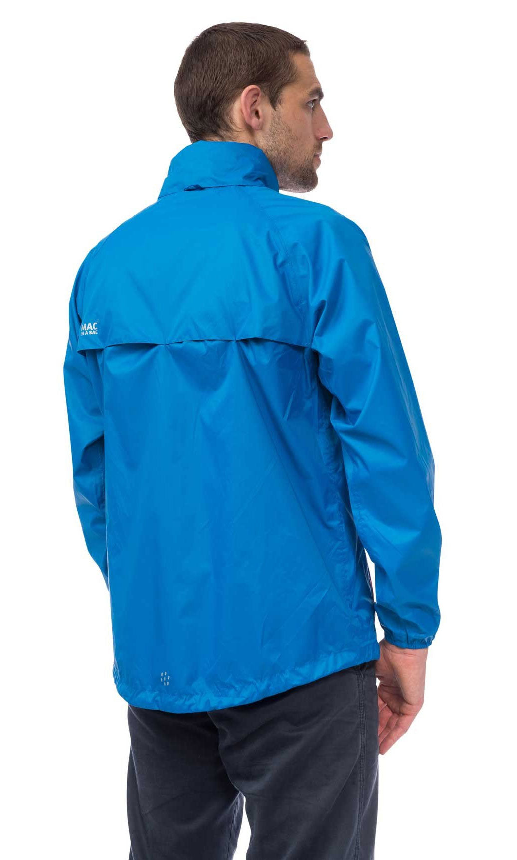 Rear view Man Wearing Electric Blue Mac In A Sac Origin Waterproof Packaway