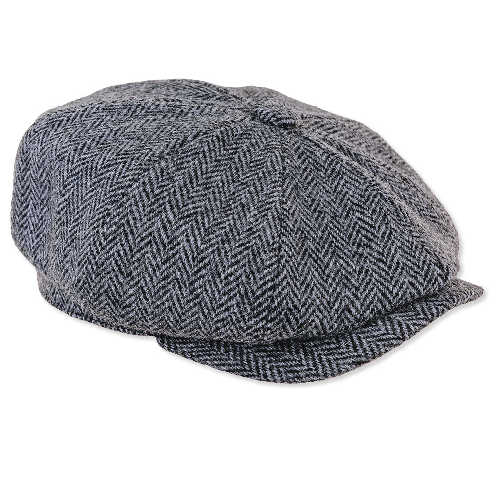 harris tweed Scott Eight Panel Baggy Button Tweed Cap in Black and Grey  Herringbone 4417bb0b738