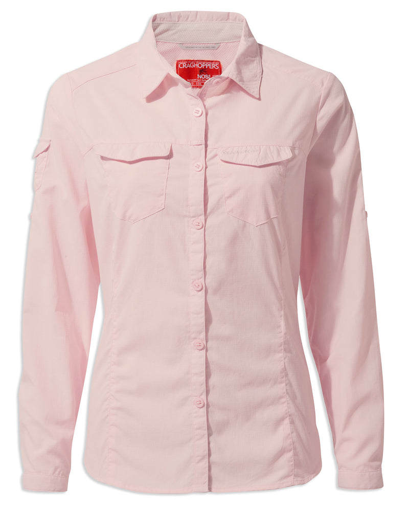 SEashell Pink Craghoppers NosiLife Adventure Ladies Long Sleeve Shirt