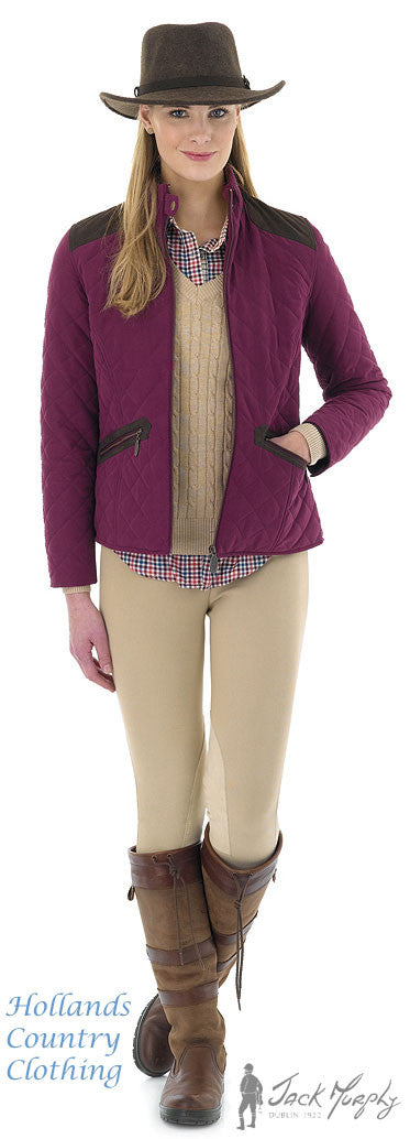 in aubergine Jack Murphy Selena Ladies Quilted Jacket
