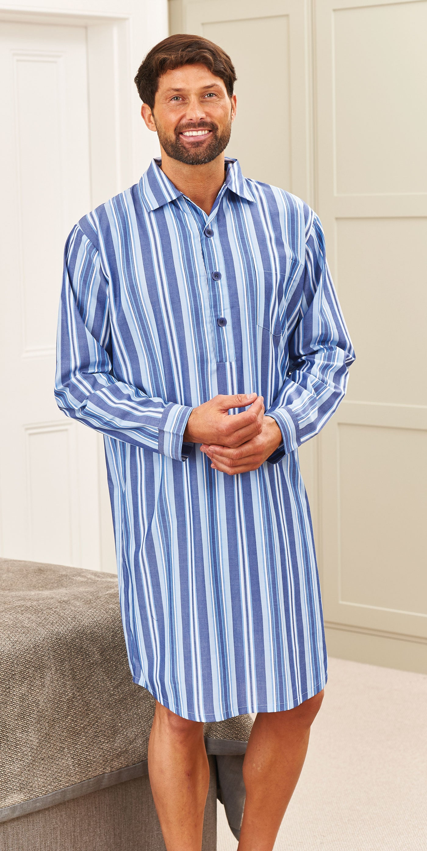 man with a beard in a nightshirt