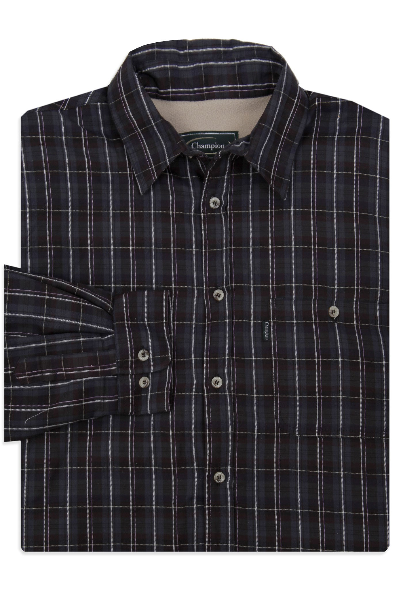 shirt folded in navy tartan Champion Sherborne Shirt Warm Lined Shirt  A country plaid check shirt with a micro fleece lining.