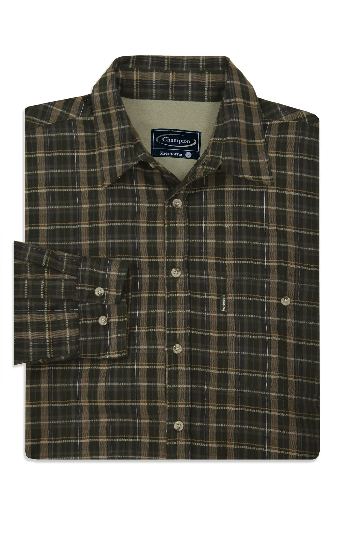 olive tartan Champion Sherborne Shirt Warm Lined Shirt  A country plaid check shirt with a micro fleece lining.