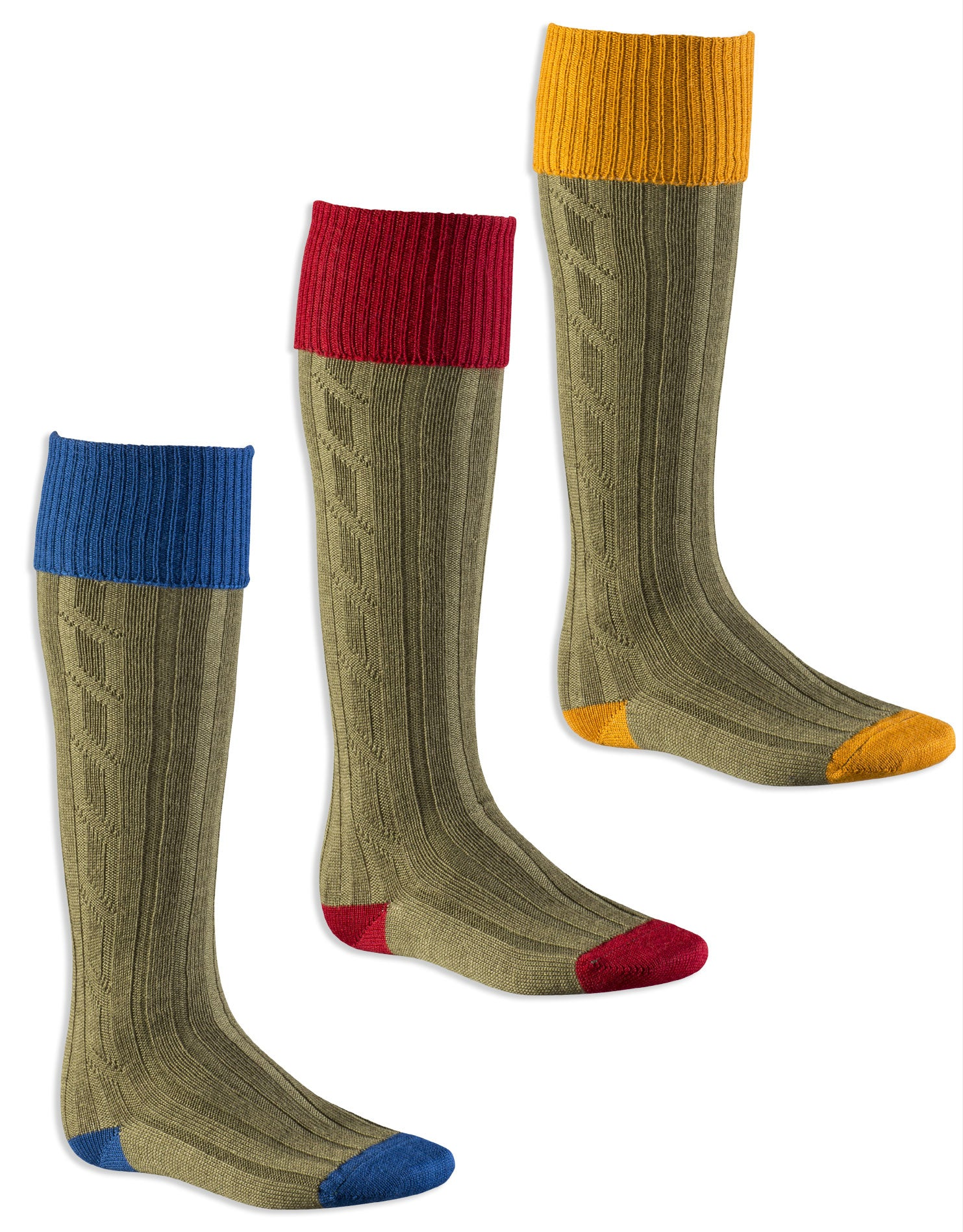 Contrast Heel & Toe Shooting Sock by Alan Paine