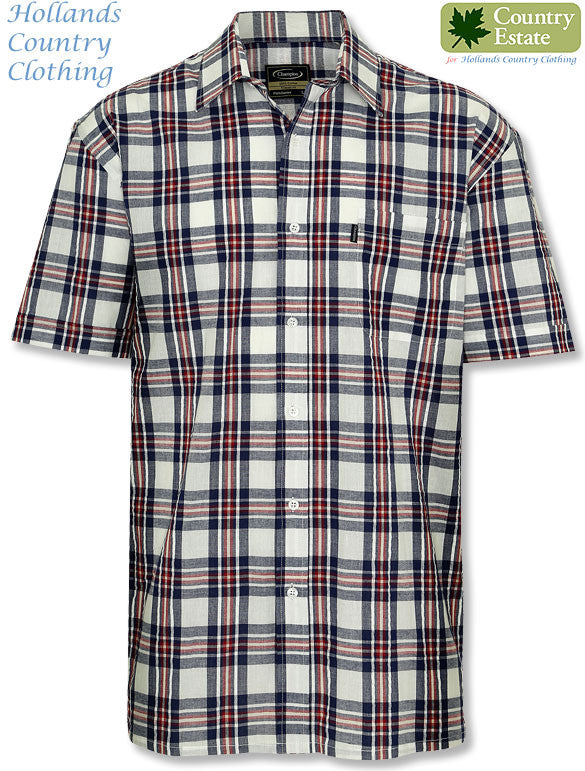 red plaid Champion Portchester Short Sleeved Shirt for summer