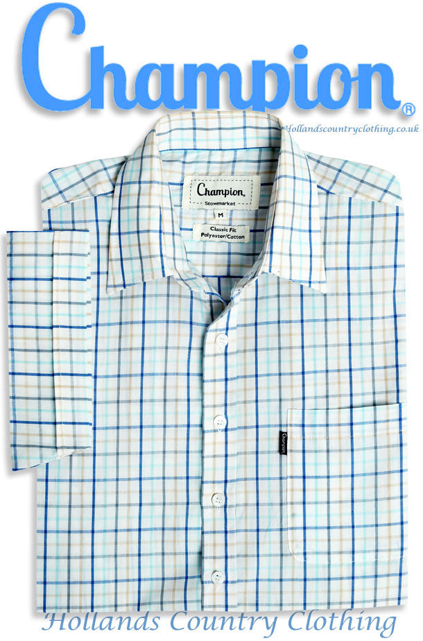 blue tattersall check Champion Stowmarket Short Sleeved Summer weight Shirt