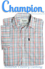 red tattersall check Champion Stowmarket Short Sleeved Summer weight Shirt