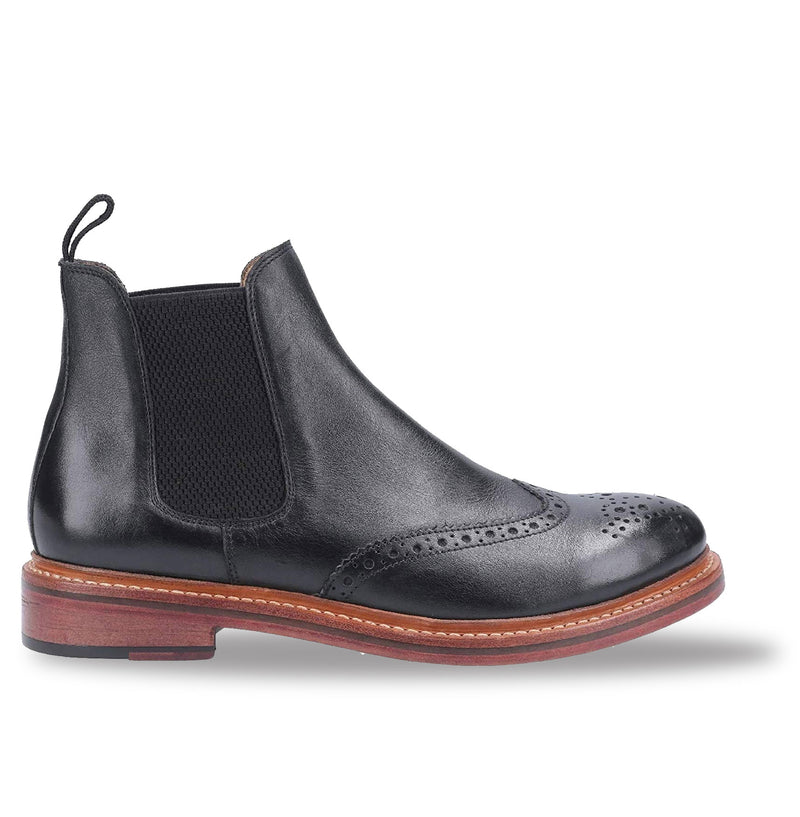 Black Cotswold All Leather Goodyear Welt Brogue Market Boot