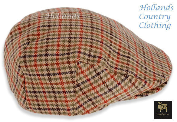 brown green country check Fine Lambswool Cap Duncan