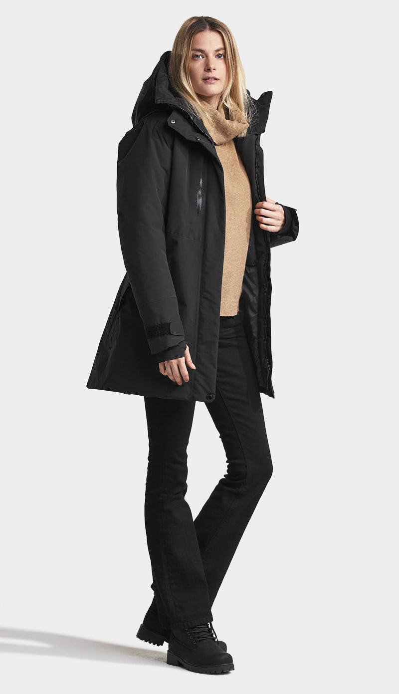 Black winter parka coat