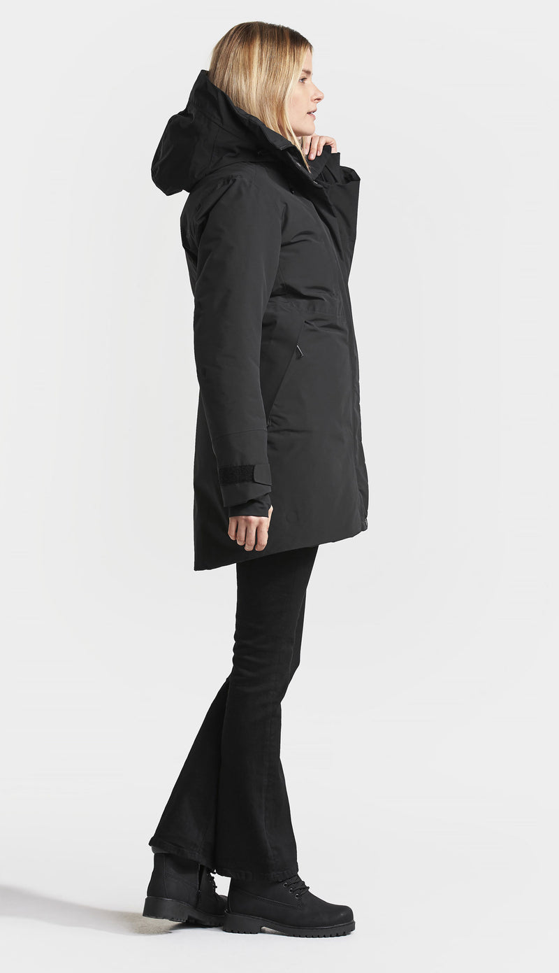 side view black Didriksons Silje Padded Waterproof Parka