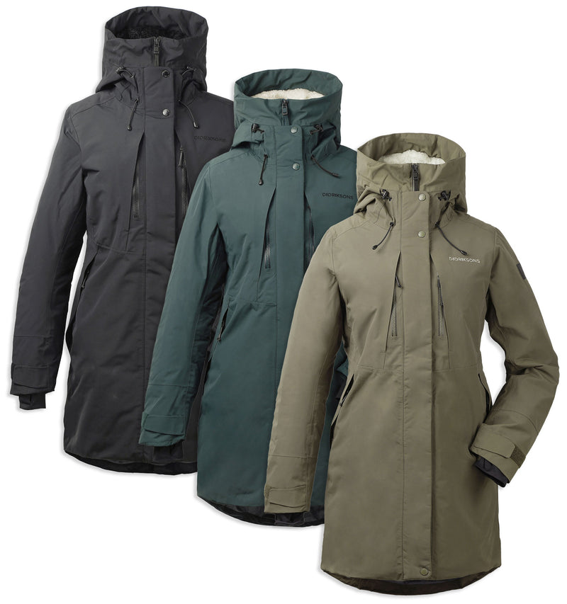 Didriksons Silje Padded Waterproof Parka in Black, Crocodile, and North Sea Green