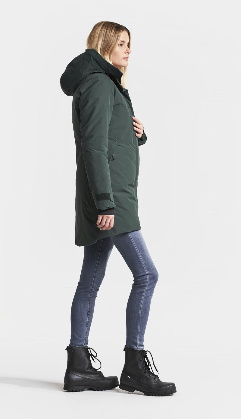 side view hood down Didriksons Silje Padded Waterproof Parka