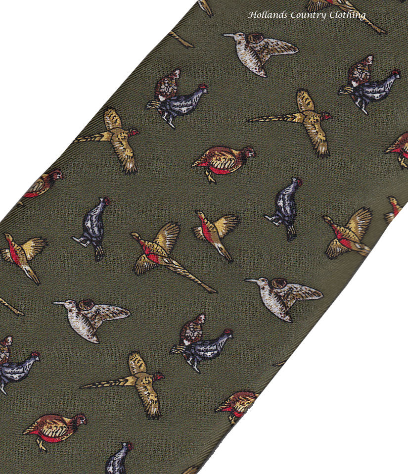 Hoggs of fife Silk Tie - Green with Mixed Game Birds