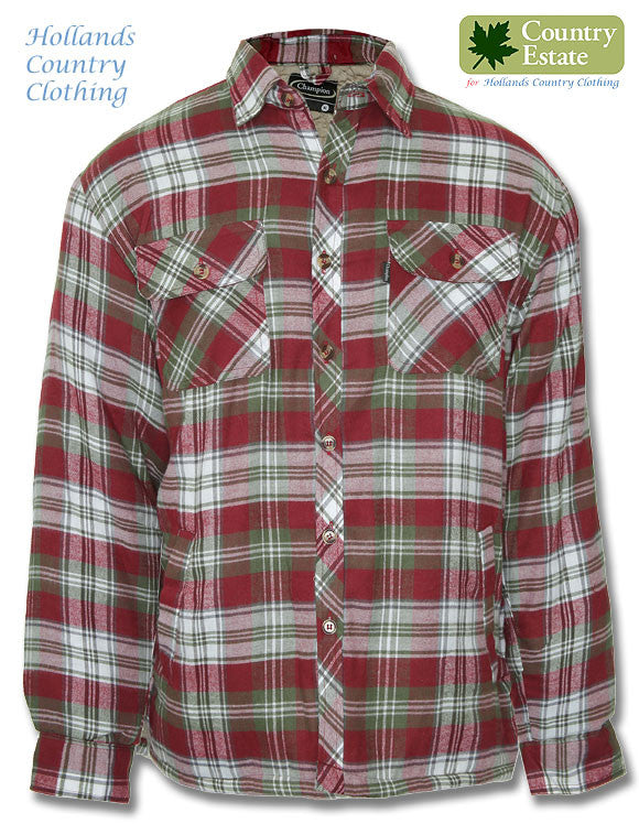 Champion Skye Fleece Lined Shirt Skye	in red tartan with green and white