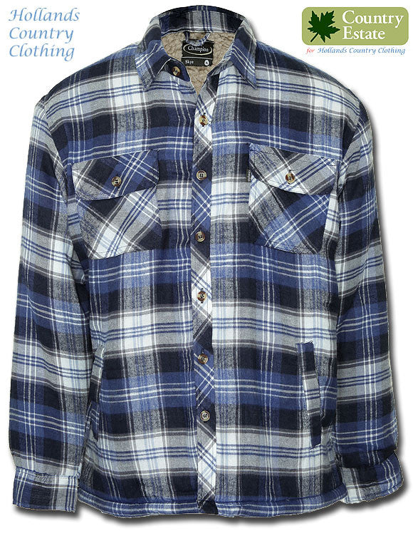 Champion Skye Fleece Lined shirt in Blue tartan plaid