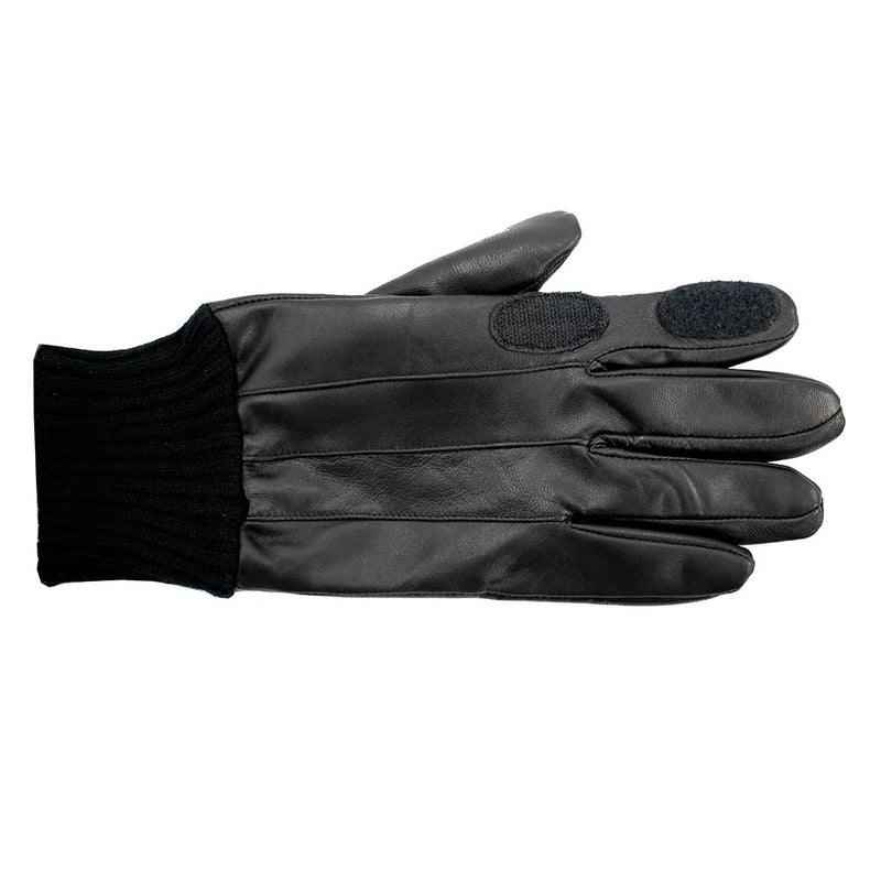 Black Leather shooting glove with knitted cuff