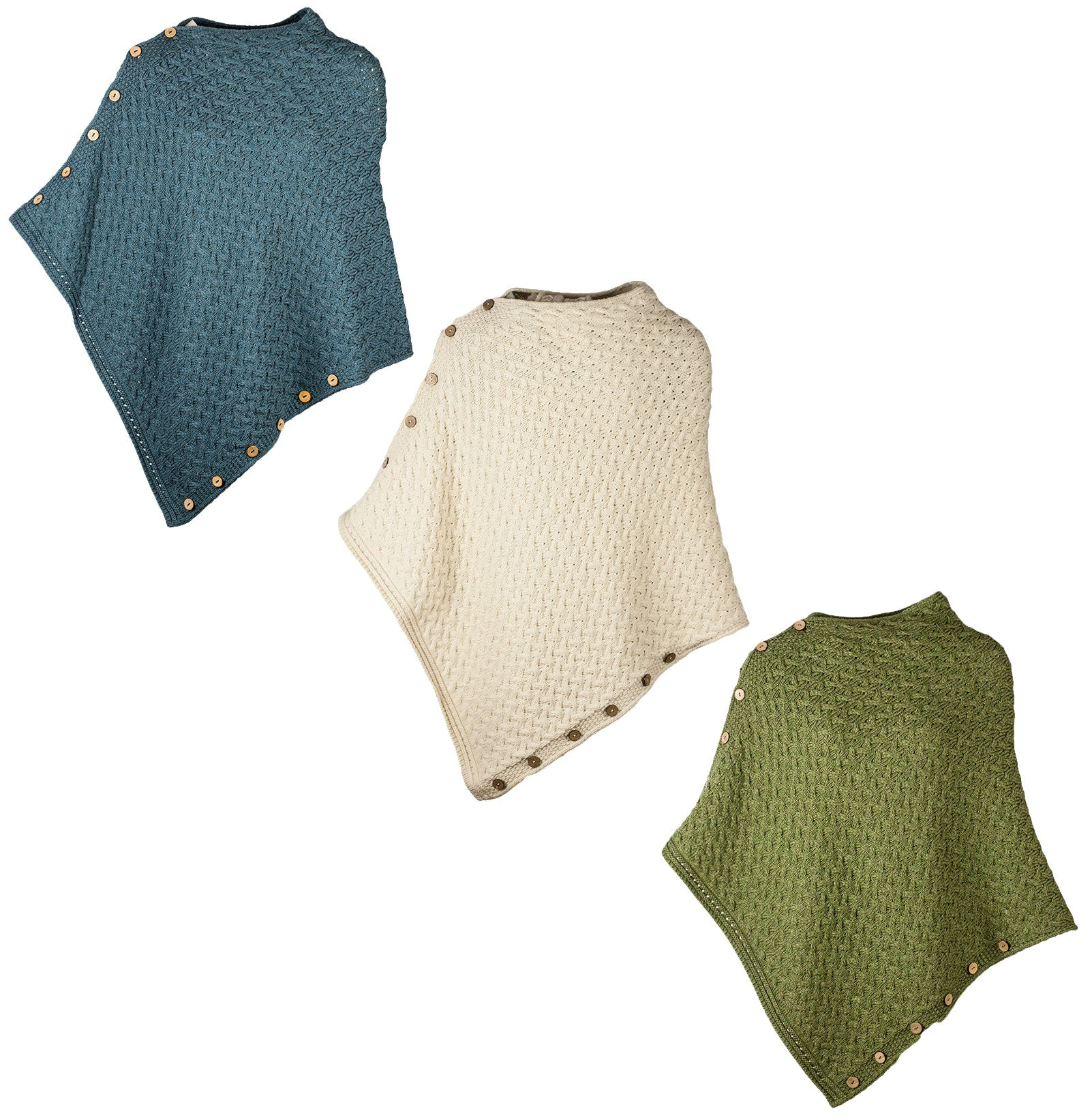95c08a3522a Aran Merino Wool Knit Button Poncho – Hollands Country Clothing