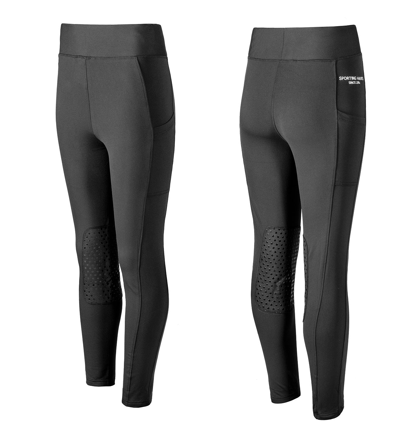 Onyx Black Sporting Hares Victorious Thermal Riding Leggings