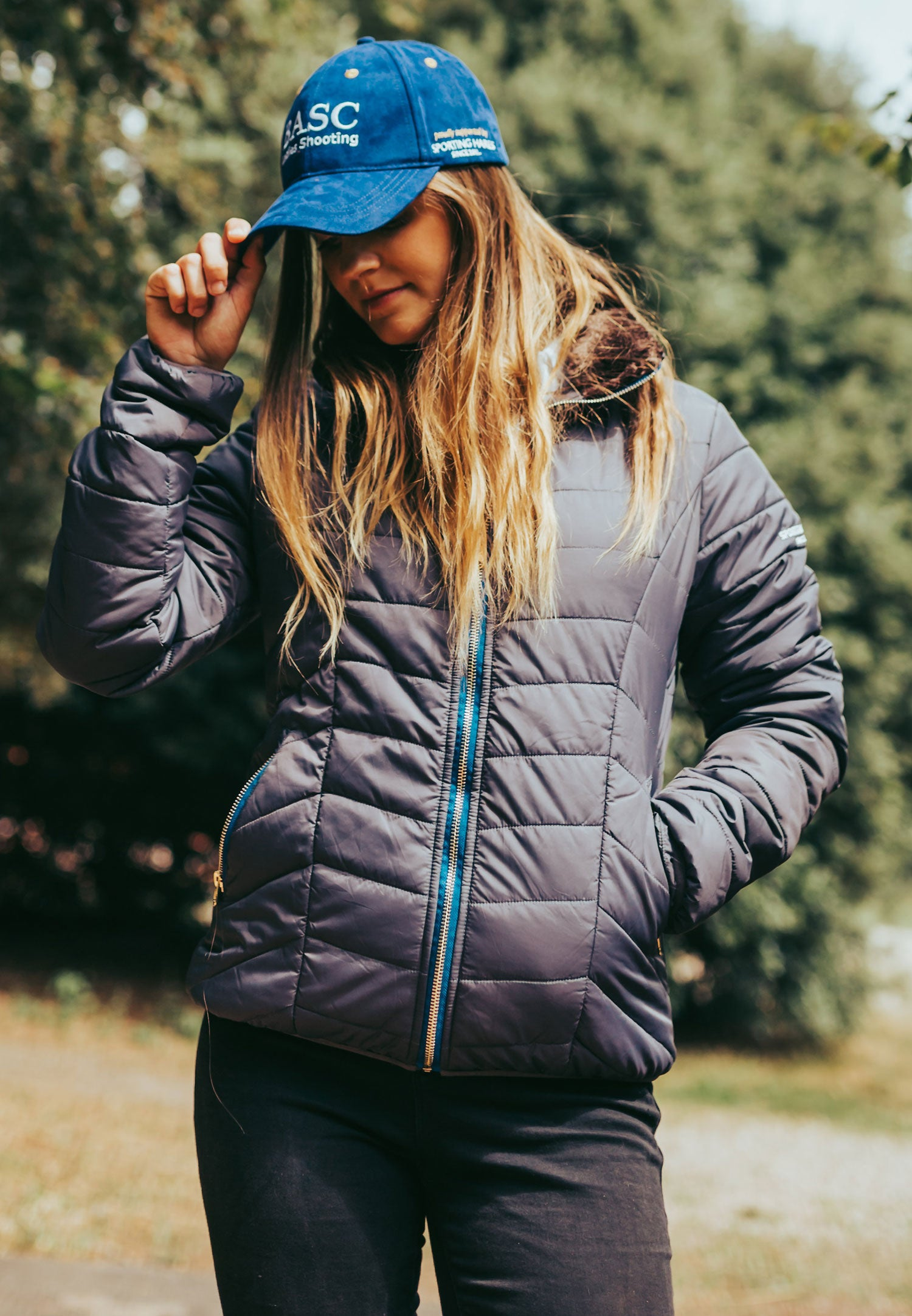 lady wears Sporting Hares Alderbury Quilted Jacket
