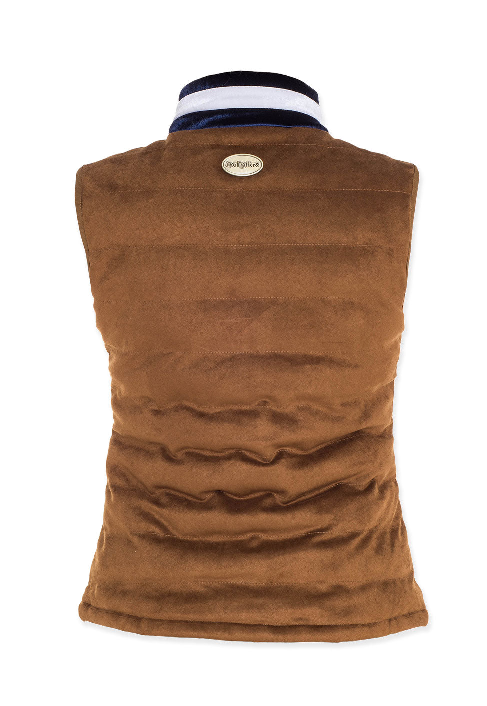 back view sporting hares gilet suede honey colour