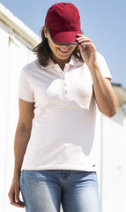 woman in baseball cap Short Sleeve Summer Polo Shirt by Baleno