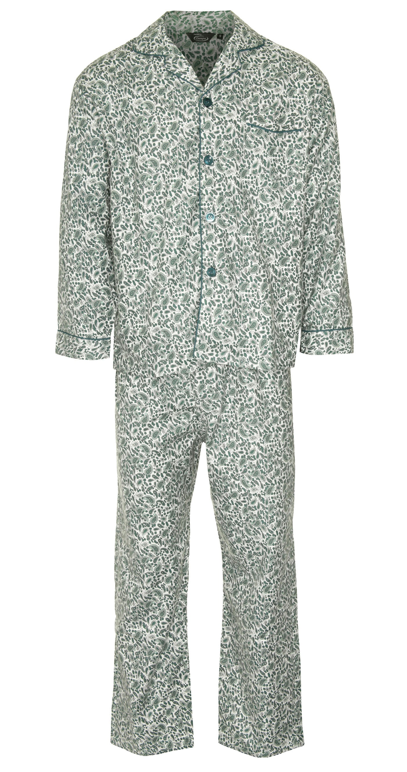 green front Champion Paisley Pyjamas 100% Cotton