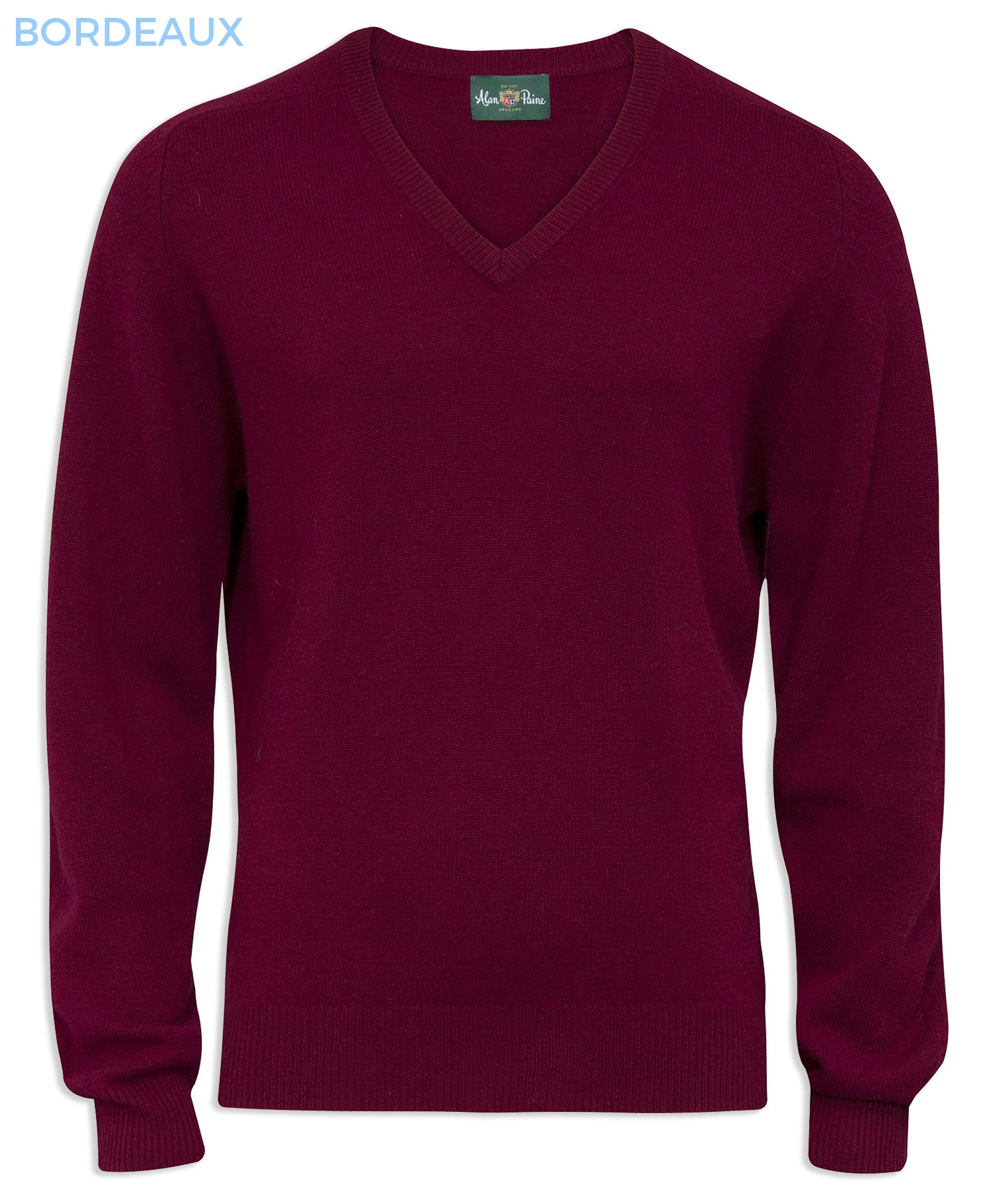 Bordeaux wine red Burford Men's Lambswool V Neck Sweater - Classic Fit