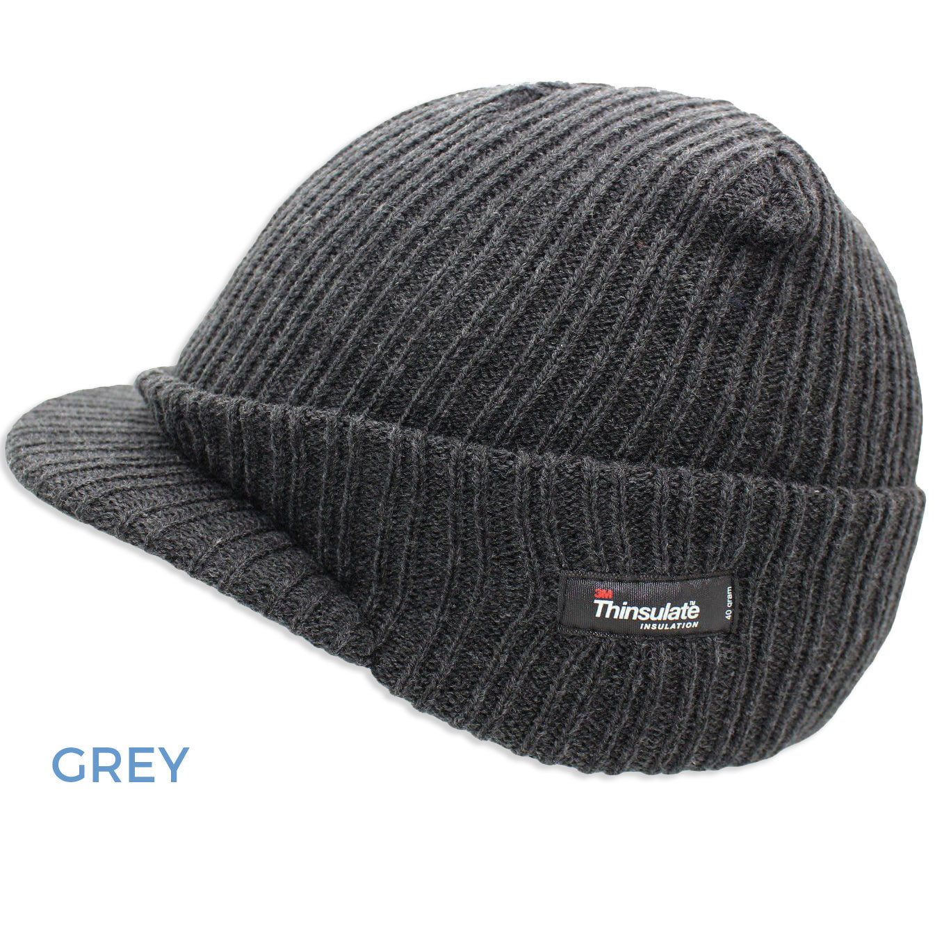 Grey Thinsulate Knitted Peaked Watch Cap
