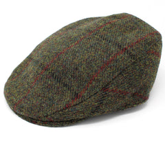 Hanna Tailor Tweed Cap | Green with Red Check
