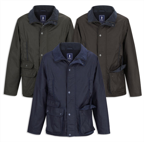Jack Murphy Archie Wax Jacket in navy, brown and olive