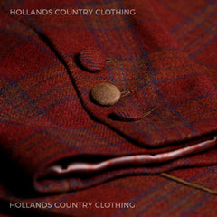 Button and cuff detailing brown plaid