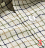 Tan navy green tattersall check shirt swatch