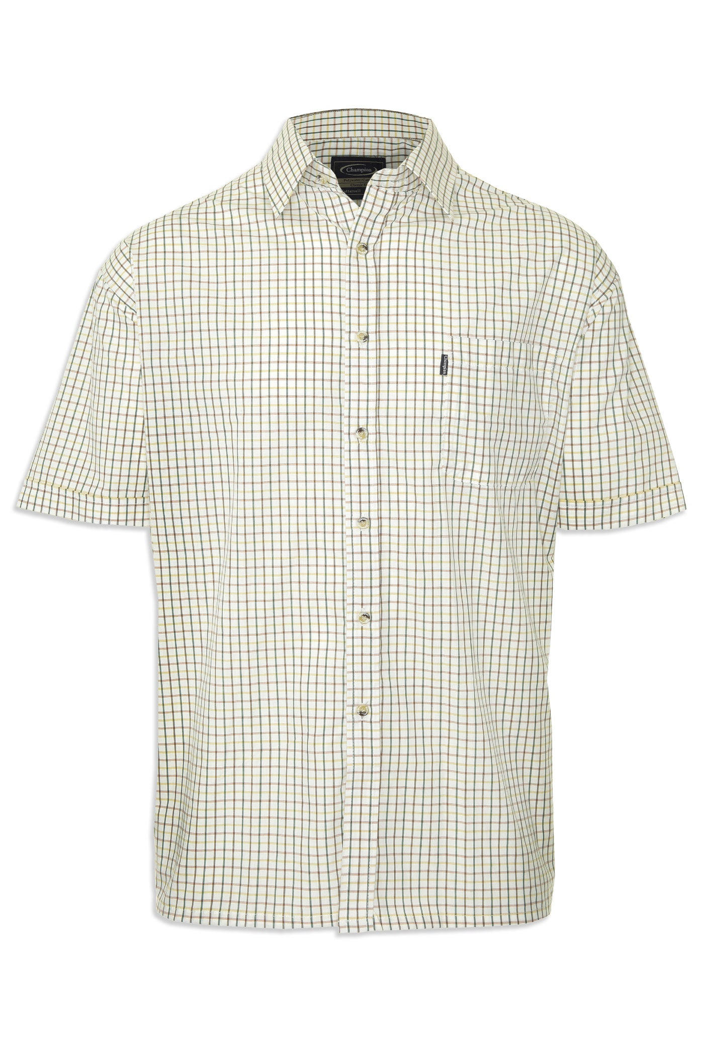 green check Champion summer Tattersall, the classic country tattersall check shirt with short sleeves, ideal for summer