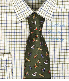Hoggs Silk Tie - Green with Mixed Game Birds worn with tattersall shirt