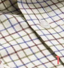 wine blue green tattersal check shirt cotton swatch