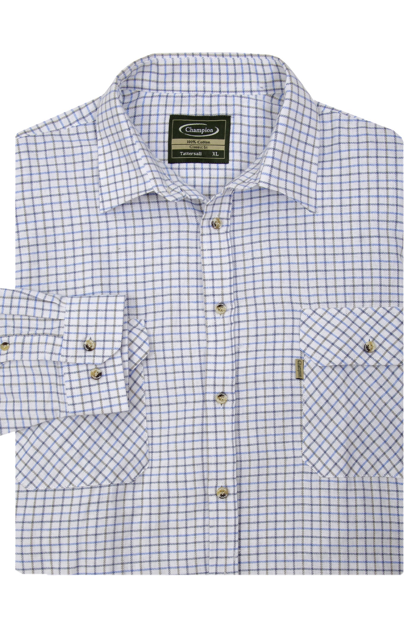 blue Champion Tattersall Shirt, the classic country check shirt