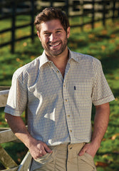 man wearing Champion summer Tattersall, the classic country tattersall check shirt with short sleeves, ideal for summer