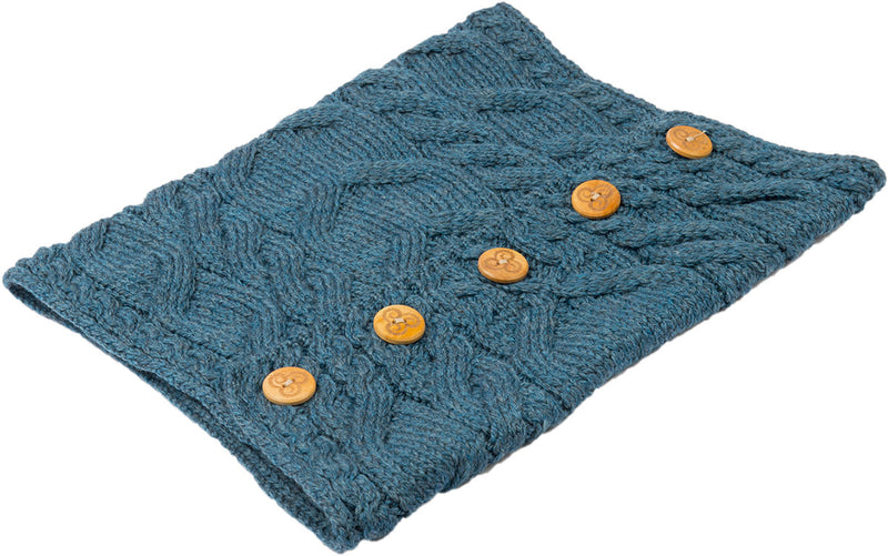 teal  Aran Merino Wool Button Snood