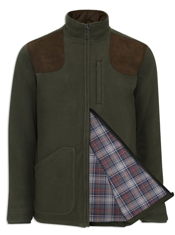 country fleece in green with shoulder patches showing lining Champion Thornton Fleece Jacket