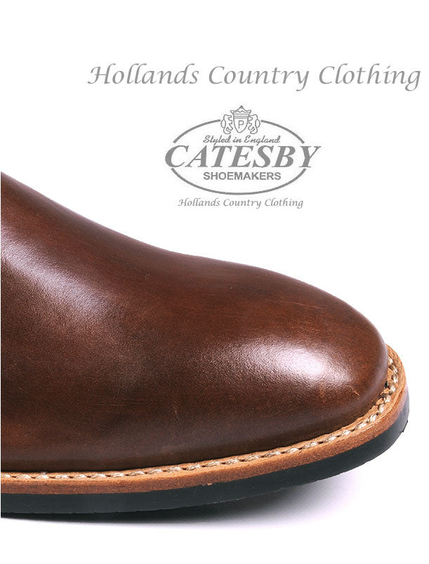 Toe Cap detail for Catesby Brown Seamless Leather Upper Elastic Gusset Boots
