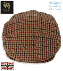 peaked front brown green country check Fine Lambswool Cap Duncan