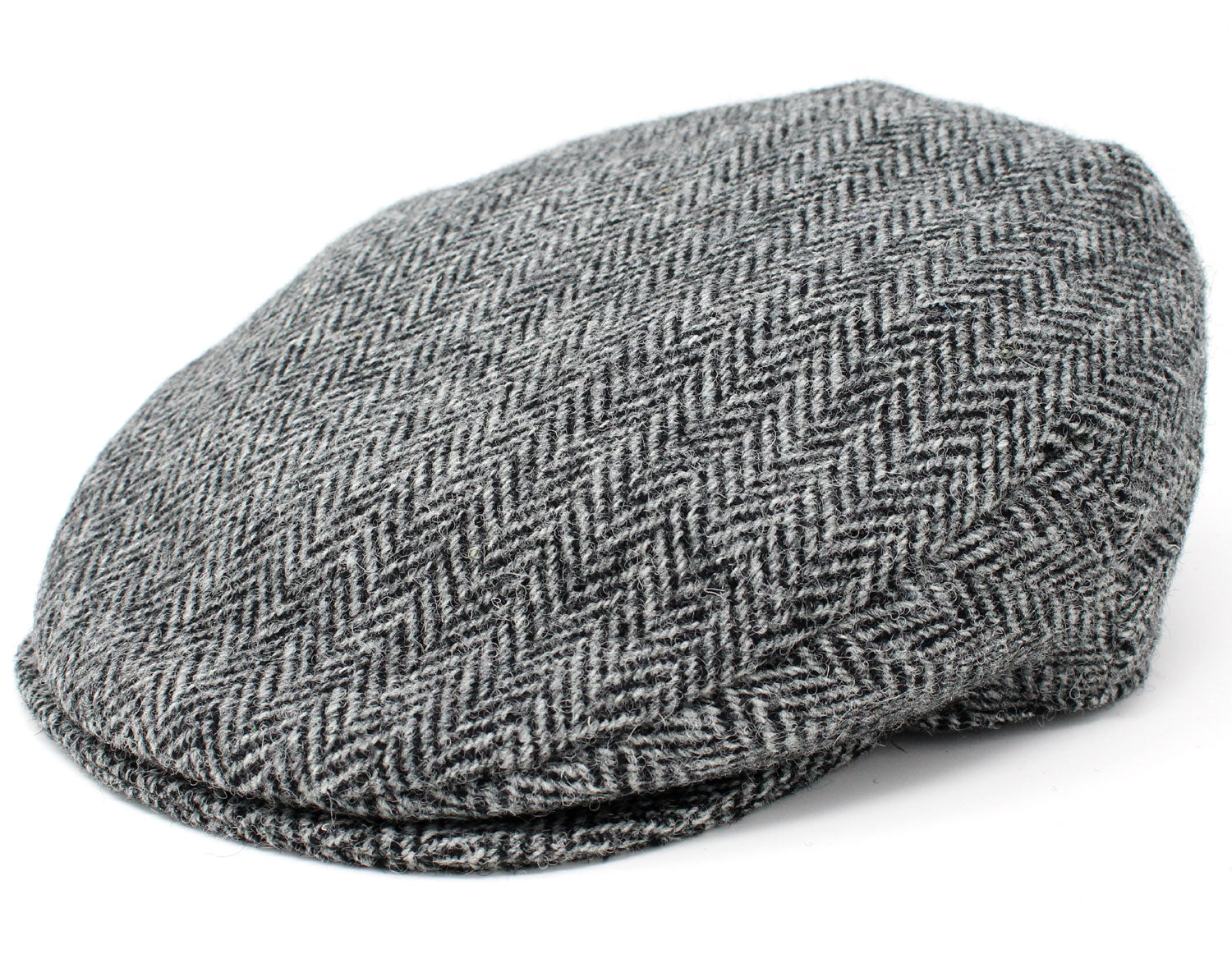 Hanna Vintage Tweed Cap | Black and Grey Herringbone