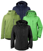 Didrikson Tropos Waterproof Jacket in Black Navy, Seaweed Green, and lime green