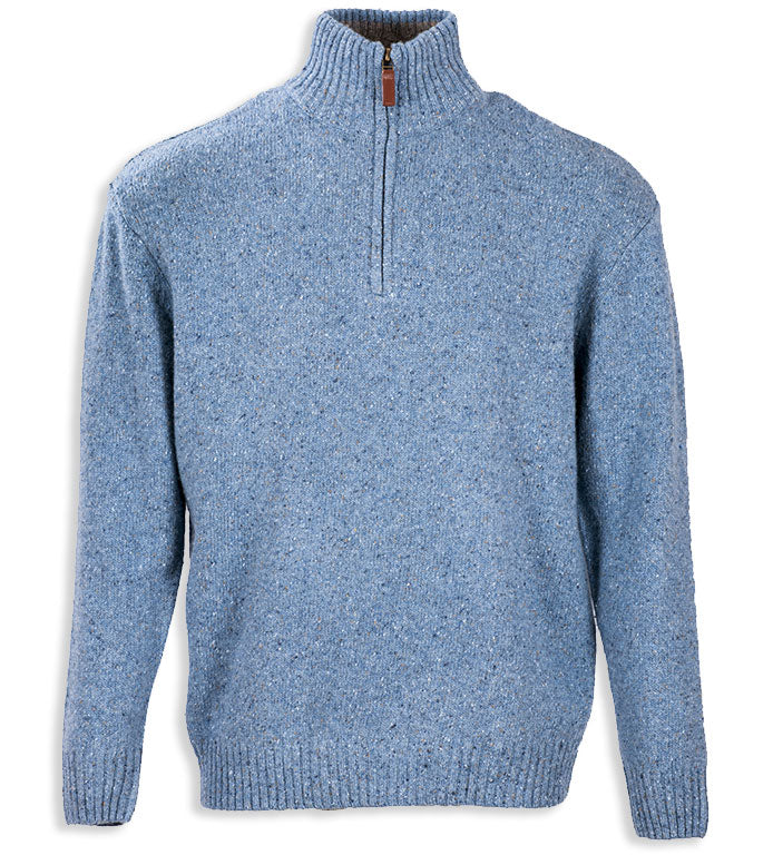Pale Blue Aran Wool Zip Neck Sweater
