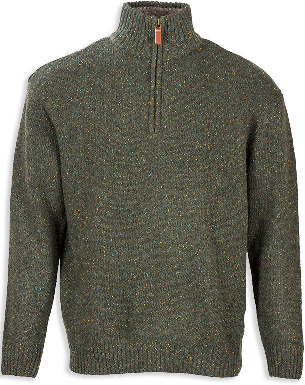 Aran Woollen Mills Troyer Zip-neck Knit Pullover Green