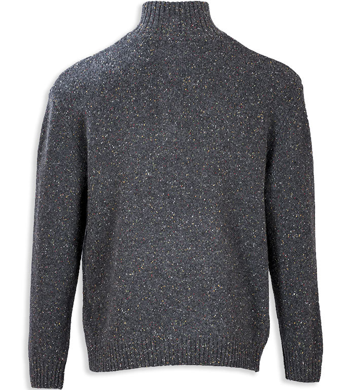 rear view black Aran Wool Zip Neck Sweater