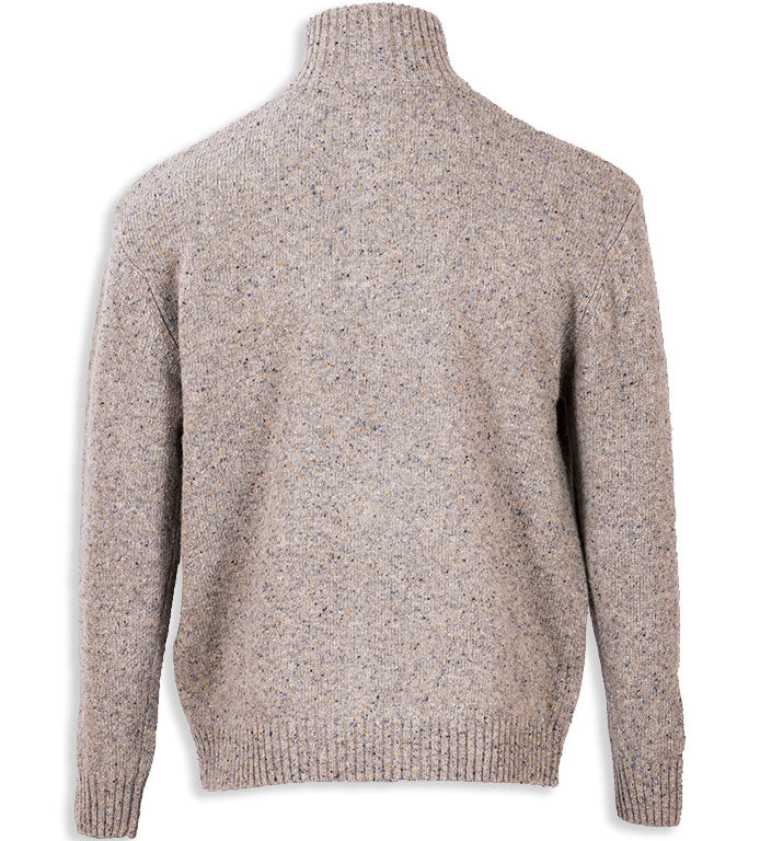 rear view beige Aran Wool Zip Neck Sweater
